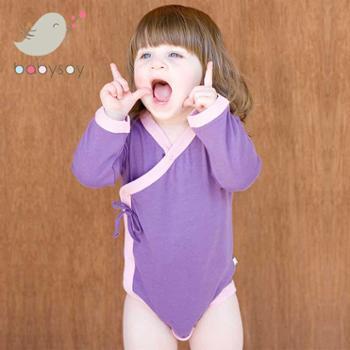 美国babysoy宝宝连体三角哈衣爬服夏婴幼儿长袖包屁衣新生连体