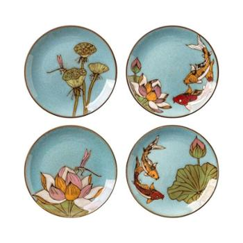 陶润会 荷韵手绘陶瓷点心盘复古创意新中式窑变釉装饰盘餐具礼盒