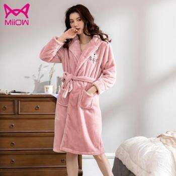 猫人睡衣女冬季加厚保暖珊瑚绒法兰绒睡袍秋冬天可外穿家居服韩版可爱新款