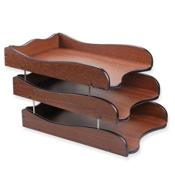 三层文件架子 多层文件盘资料架可叠加创意桌面木质文件座办公室