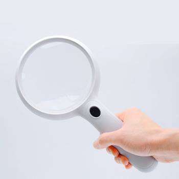 韧跃高清高倍便携式手持阅读带LED灯放大镜