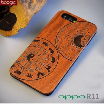 Boogic OPPO R11 PLUS新款木质手机壳 镭雕花梨原木PC保护套