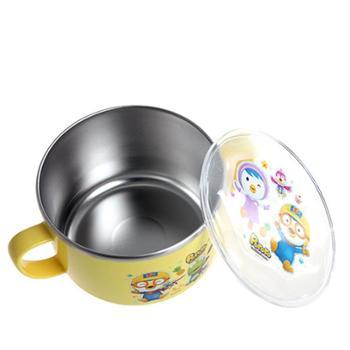 韩国pororo啵乐乐儿童饭碗餐具防滑带盖不锈钢防烫双把汤饭碗