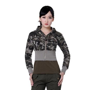 BaiLV百旅2016秋冬女款迷彩针织帽衫外套B3F3014#ZG006-075