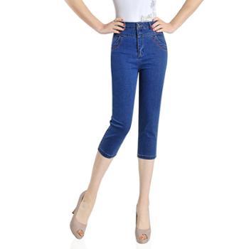 百旅Bailv夏季薄款女士七分裤高腰牛仔裤合身绣花弹力妈妈装直筒女裤