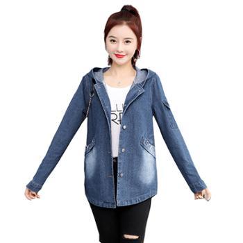 百旅Bailv新款韩版牛仔外套学生大码夹克外套宽松女装