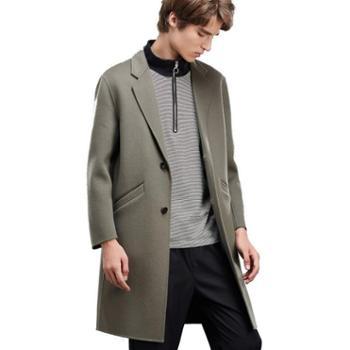 JJ Moda 韩版商务宽松中长款毛呢外套