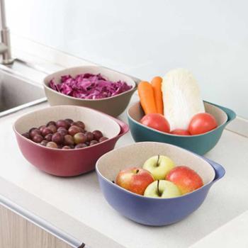 馨伊媛小麦秸秆双层沥水篮 厨房洗菜篮子水果篮沥水洗菜篮2套装
