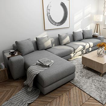 梦尚佳北欧日式布艺沙发组合大小户型棉麻全拆洗沙发转角客厅家具