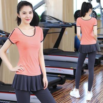 菩媞女春夏瑜伽服套装速干健身房健身服假两件跑步裤运动服显瘦瑜珈衣