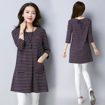 【hellosadieLYQ】女士连衣裙2018年春季连衣裙时尚中长款韩版气质优雅修身潮流WXN702-1