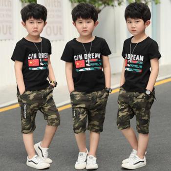【hellosadieTZ】男童套装2018新款个性童套男童夏装中大童儿童国旗迷彩两件套童装573国旗迷彩套