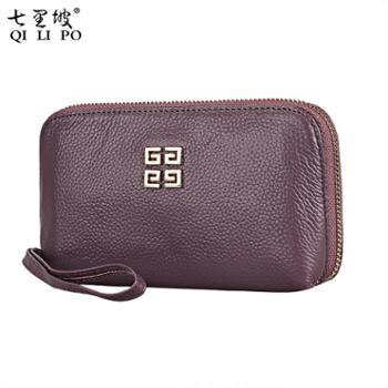七里坡2017新款牛皮手拿包约时尚手机包糖果色手挽包夹层女士包包 66506