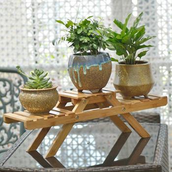 客厅楠竹实木质阳台花架多层多肉落地折叠花架子