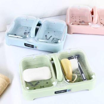 乐彼创意图案字母沥水孔肥皂盒双格手提式带盖皂盒浴室厨房香皂盒