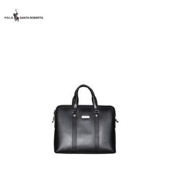10PL-259保罗马球PoloSantaRoberta包包男士真皮商务黑色公文包