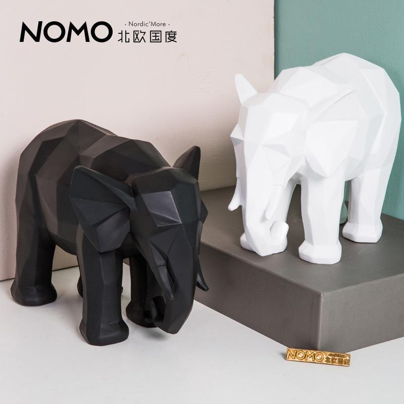 北欧国度 埃德温几何折纸动物摆件树脂大象摆设 客厅桌面摆件