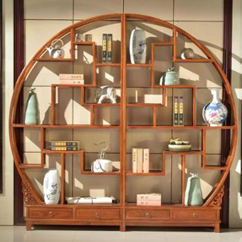 一米色彩 仿古博古架 全实木圆形中式客厅隔断格陈列柜古董架置物架南榆木多宝格