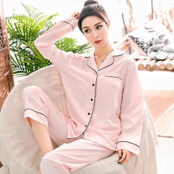 春夏新款丝绸睡衣女长袖套装韩版休闲可外穿家居服睡衣