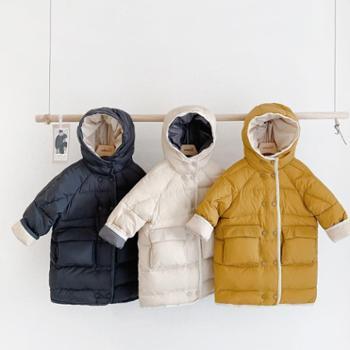 撞色韩版秋冬儿童中长款羽绒服男女中小童装保暖外套 W1922