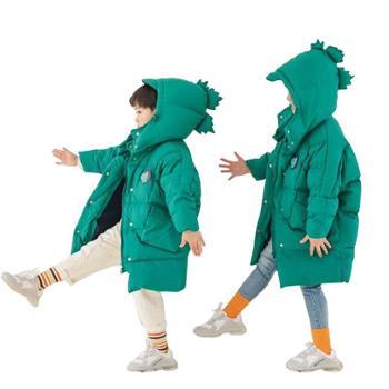 创意小怪兽款儿童中长款羽绒棉服秋冬童装棉衣卡通儿童羽绒服中长款宝宝加厚童装W1918