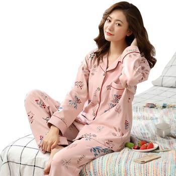苏吉思 女士长袖睡衣套装 韩版开衫可外穿家居服 纯棉