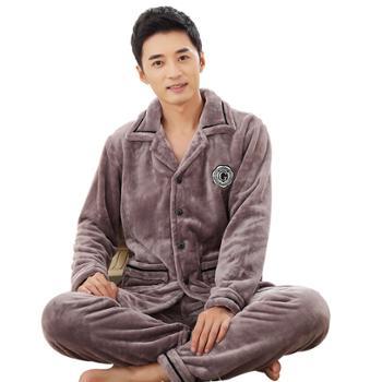 秋冬珊瑚绒睡衣男士长袖冬季秋冬套装法兰绒加厚保暖家居服