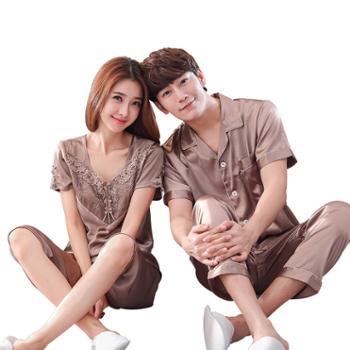 男女士情侣丝绸睡衣 夏季仿真丝短袖两件套家居服 G-079短和1653短