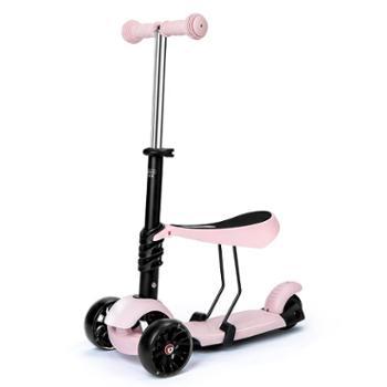 贝恩施儿童滑板车1-3-6岁滑滑车可坐三轮儿童车闪光轮宝宝滑