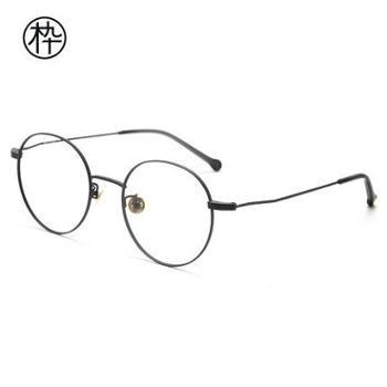 圆框眼镜复古平光镜木九十FM1000002男女近视金属圆框复古眼镜