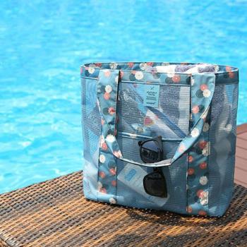 手提网眼收纳袋单肩购物包旅行包沙滩包洗漱袋
