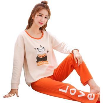 新款棉质长袖韩版清新家居服两件套装