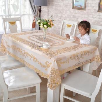 PVC烫金桌布防水免洗欧式台布长方形防滑隔热餐垫