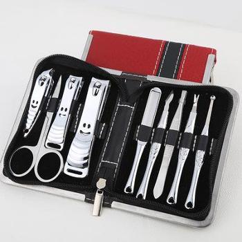 指甲刀雕花手柄拉链包9件不锈钢指甲剪套装