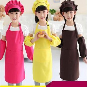 儿童围裙画画衣美术馆幼儿园夏厨师服烘焙套装