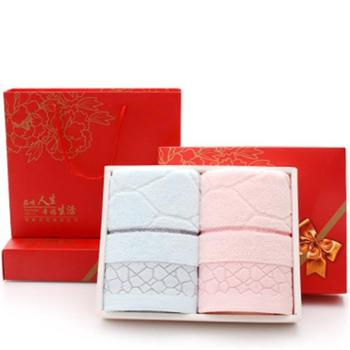 纯棉毛巾礼盒装套装2条装