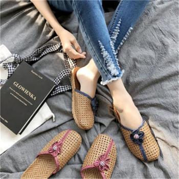 新款夏季室内女透气家居凉拖鞋防滑亚草编织情侣亚麻居家地板