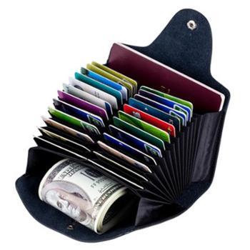 新款卡包风琴真皮现货多卡位男士外贸简约双排多功能卡套女软皮