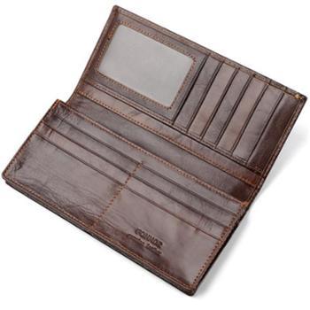 RFID防盗油蜡皮钱包男士长款真皮西装钱包外贸轻薄手包复古牛皮