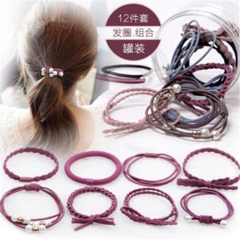 发圈发绳韩国头饰小清晰成人发饰绑头发扎马尾头绳12件套装