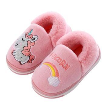 儿童棉拖鞋冬季家居室内防滑保暖可爱卡通独角兽包跟棉鞋