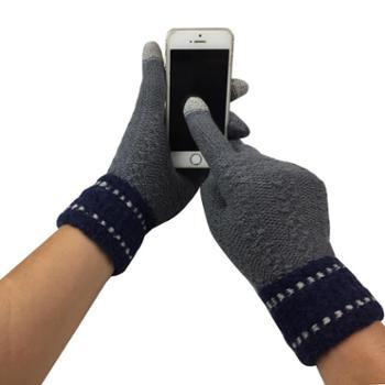 手套男士冬季触屏加绒保暖防风毛线手套时尚修手款型触屏手套