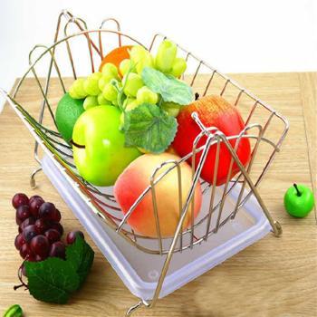 【陕西晟木电子】水果篮客厅装饰果盘沥水篮水果收纳篮摇摆不锈钢色糖果盘子
