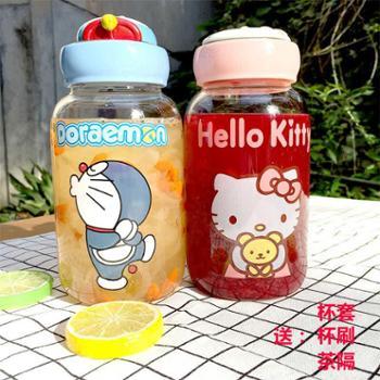 杯子女学生韩版超萌大号水杯玻璃杯可爱广口夏季卡通小清新水杯600ml