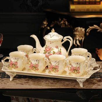 客厅凉冷水壶杯具水杯子套装陶瓷家用6只装欧式茶具水具整套托盘