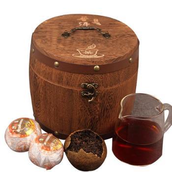 普洱茶熟茶新会特产柑普茶橘子陈年桔普茶 420g 木桶装