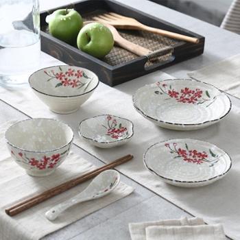 佰润居日式陶瓷餐具代理碗碟套装家用釉下彩米饭碗筷盘子勺子套装厨房用具
