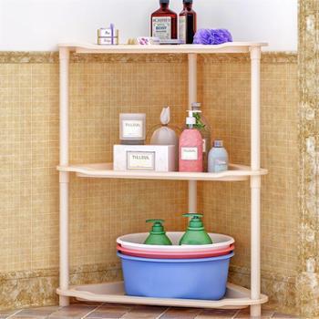 索尔诺卫生间置物架厨房落地浴室收纳架子桌面客厅层架三角架z693