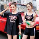 佑游泳衣女三件套韩国温泉小香风分体保守学生显瘦性感运动游泳装 运动户外
