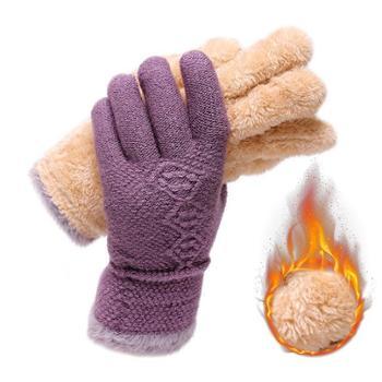 女士全指针织手套双层户外骑行防寒毛线手套